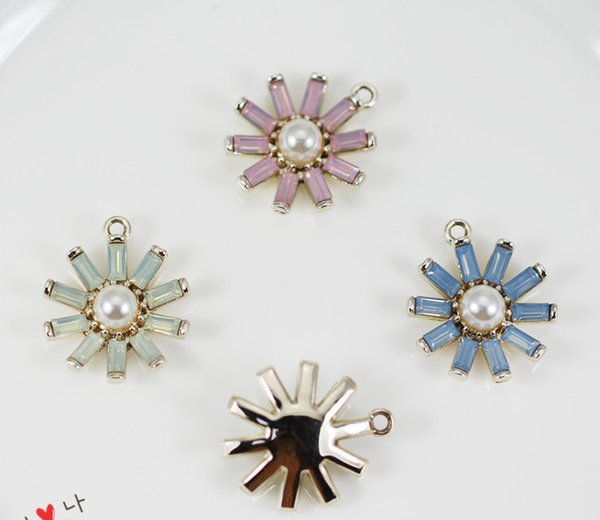 50pcs/lot 20*23mm Gold Tone Alloy Material Imitation Pearl Resin flower Charm For Earring DIY Handmade Jewelry Making
