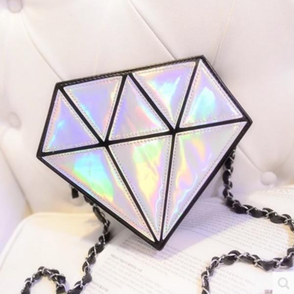 Yeni elmas çanta parlak lazer asılmış omuz kadın çantası serin küçük paket kristal şeker renk kadın çantası toptan