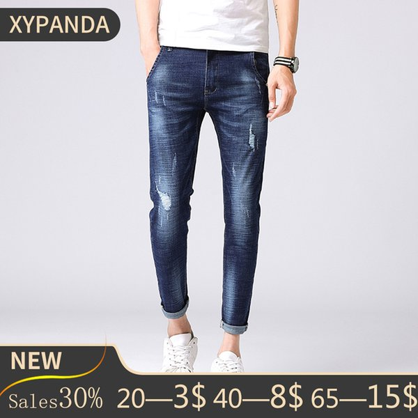 XYPANDA blue solid color jeans old retro youth wild washable trousers casual bottoms 9 pants
