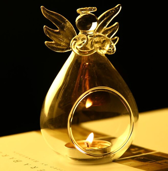 Romantic Angel Crystal Glass Candle Holder Hanging Tea Light Lantern Candlestick Burner Vase DIY Wedding Party Decoration