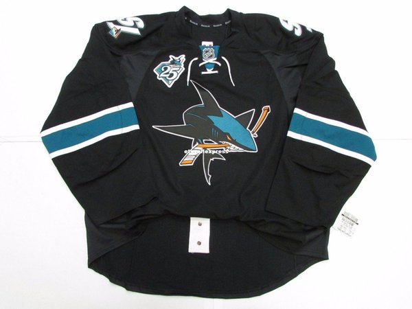 Cheap custom SAN JOSE SHARKS THIRD 25th ANNIVERSARY TEAM ISSUED EDGE 2.0 JERSEY stitch add any number any name Mens Hockey Jersey XS-6XL