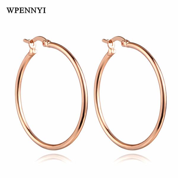 Simple Style Classic Hoop Earrings Round Shape Circle Woman Earring 3 Colors Wholesale Internal Diameter 3.4cm Girl Gifts
