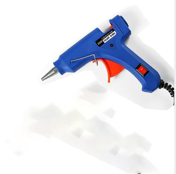 Alta Temp Aquecedor Melt Hot Glue Gun 20 W Ferramenta de Reparação Pistola de Calor Azul Mini Gun Com Gatilho EUA / plugue DA UE