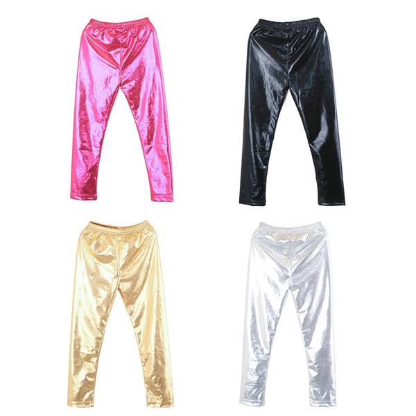 Bbay Girl Leggings Kids Metallic Ballet Toddler Pants Trouser Thin Girls Faux Leather Pants Spring Girls Leggings