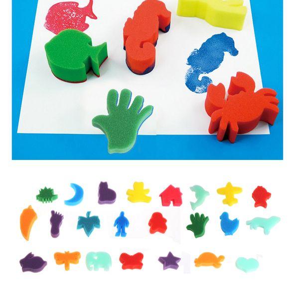 top popular 24 Pcs Set Children Kids coloring Art Craft Sponge Painting DIY Drawing Tool Wholesale 2021