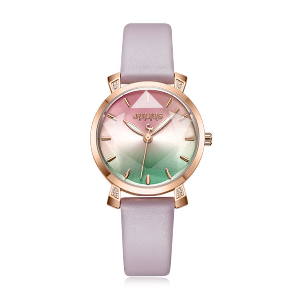 Звезда Cut Радуга Цвет Леди женские Часы Япония Кварц Изящные Модные Часы Натуральная Кожа Браслет Девушка Подарок На День Рождения Julius Box