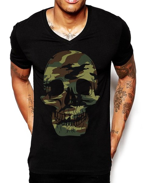 Camo Skull V Neck T Shirt Deep Fitted Bright Ibiza Holiday Men Fashion EDY17 harajuku Summer 2018 tshirt