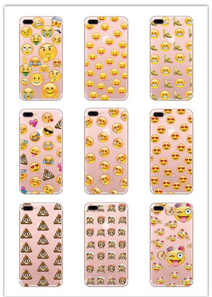 Funny Smile Face Transparent TPU Phone Case Cute Clear Emoji Phone Shell for iPhone 7 8PLUS XR X MAX
