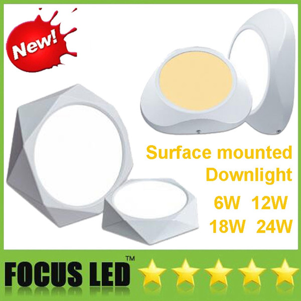 Stylish Surface Mounted 6W 12W 18W 24W LED Panel Lights Driver 110-240V Creative Downlights Ceiling Down Lights Lamps Warm/Cool white CE