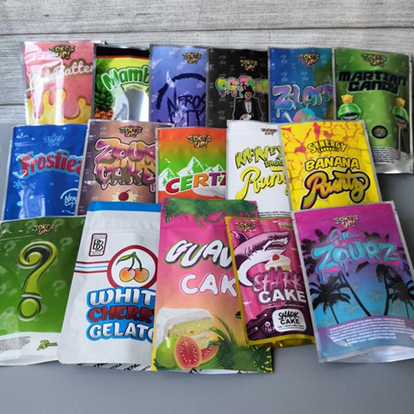 best selling Jokesup Shark Cake BAG 3.5g Money bag Runtz Frosties ZOURZ Smell Proof Bags Vape Packaging for Dry Herb16 TYPES mylar bag
