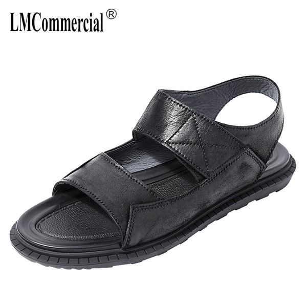 Cuero genuino para hombre sandalias ocasionales de moda de verano ocio sandalias romanas hombres tendencia exterior antideslizante zapatos de playa de piel de vaca