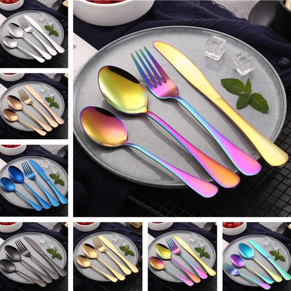 Set posate in acciaio inox Coltello coloratissimo, forchetta, cucchiaio, posate Western titanio Coltello da bistecca e forchettone set da tavola 4964