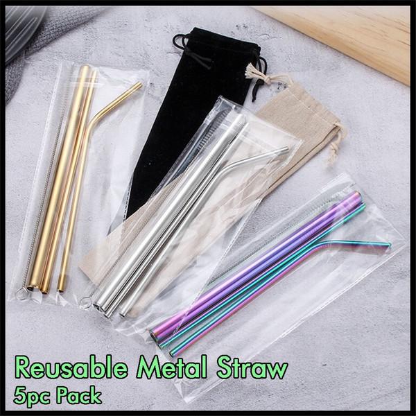 Reutilizável metal Palhas Bebendo 5pcs pacote de aço inoxidável 304 Palhas Inofensiva de vácuo Tumbler Canecas Copos com escova e Retail Bag Package