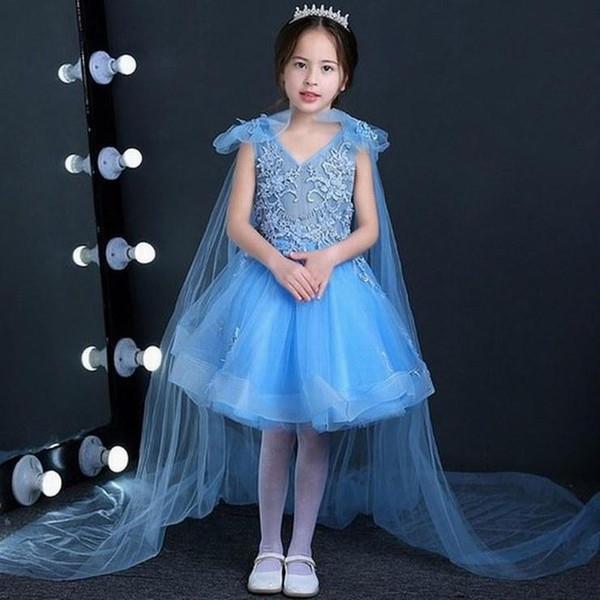 New Blue Short Flower Girl Dresses Princess Dresses Girls' Pageant Dresses Birthday Kids Party Special Occasion Children Prom Dress GHST163