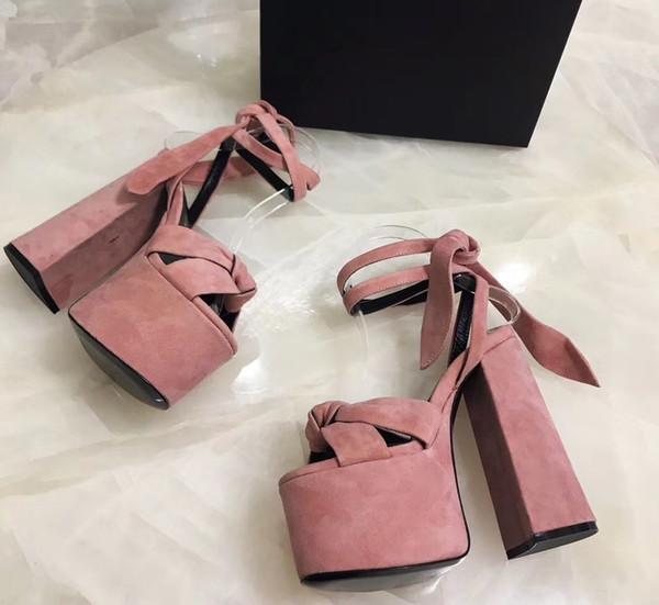 Hochwertige neue weiche Mode sexy High Heel Schuhe Frauen einkaufen Echtleder Sandalen mit Box und Staubbeutel komplette Größe