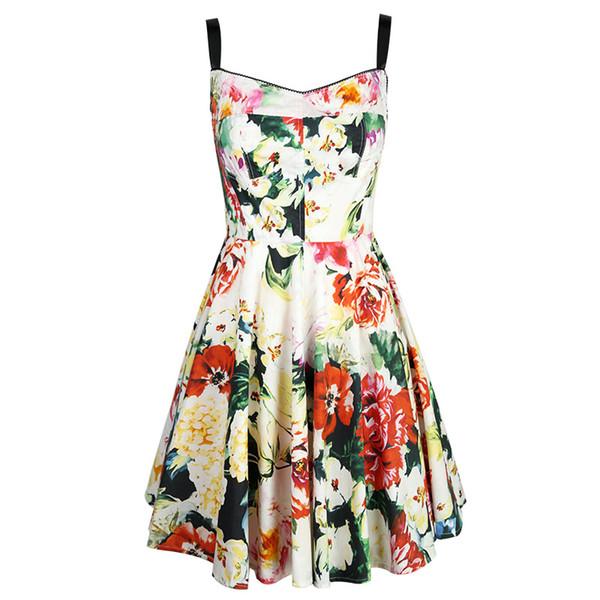 Wholesale 2019 Summer New Playful Sweet Temperament Women's Suspender Skirt Open-back Flower Print Spelling Mid-waist Short Dress