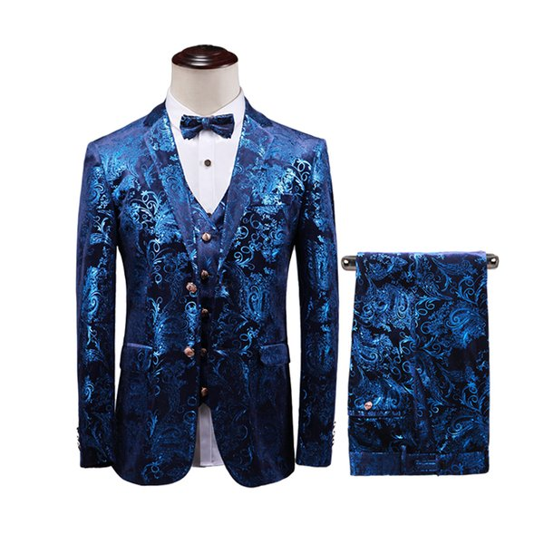 ( 3pcs Set: Jacket+Vest+Pants )Design Mens Stylish Blue and Silvery Smear Suits Stage Singer Wedding Groom Tuxedo Costume -5XL