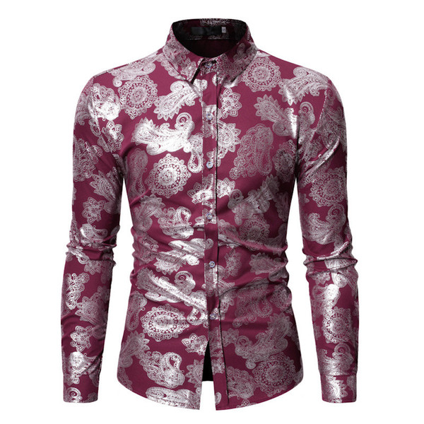 Male Loose Shirt Paisley Print India Style Business Casual Blouse Turn-down Collar Spring New Male Blusa Long Sleeve Men Clothes