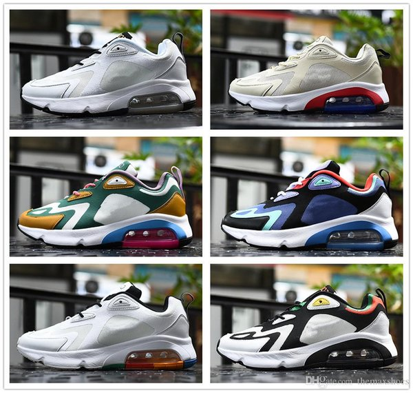 2019 200s Gets A AiRS Running Shoes For Men Royal Pulse Desert Sand Mystic Green White Rasta Gold 200s Mens Cushion AT6175 Sneakers Good Running Shoes