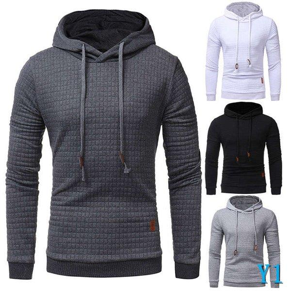 Vêtements pour hommes à capuche pour hommes avec manches longues Casual Chapeau couleur solide Lattice Sweat à capuche pour hommes Hoodie SportswearY1