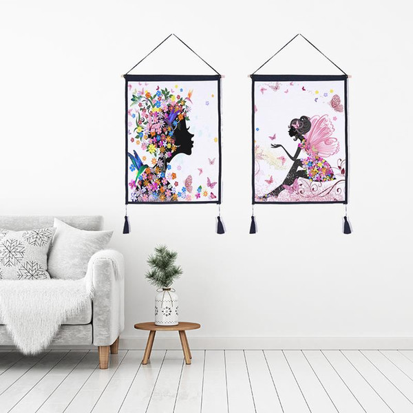 Decor Wall Scroll Hanging Tapestry butterfly girl Hanging Painting,Sofa Background Hanging Cloth,Corridor,Porch,Electric Meter Box