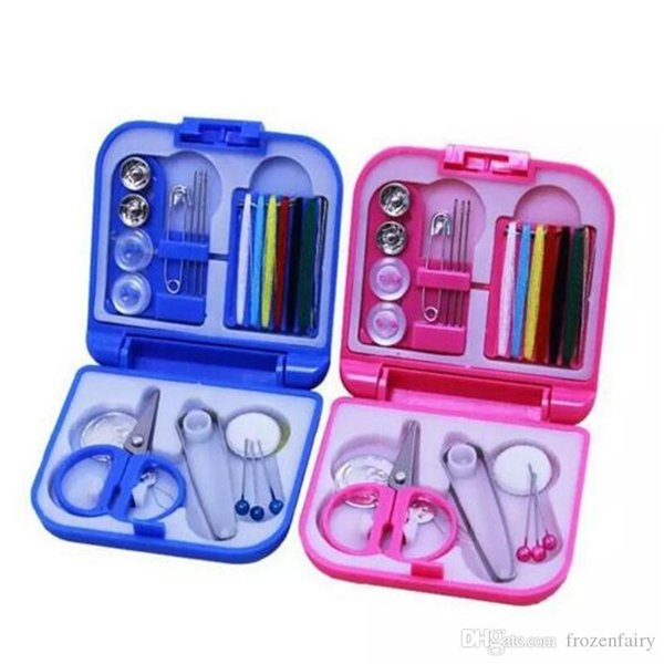 Handy Travel Sewing Kit Home Needle Thread Scissors Tape Buttons Thimble Pins
