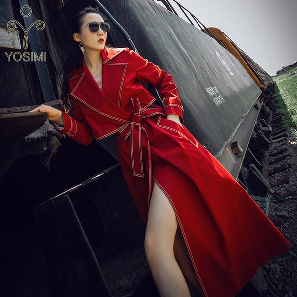 capa de las mujeres del invierno del otoño Maxi Mujeres largo foso de la capa de cinturón Turn-down Collar de la manga completa de cintura ancha Office Lady Red rompevientos