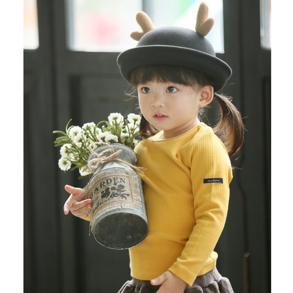 Girls boys autumn shirts kids casual solid t shirt baby white gray yellow red dark blue t-shirt children tops 2-7 T clothes