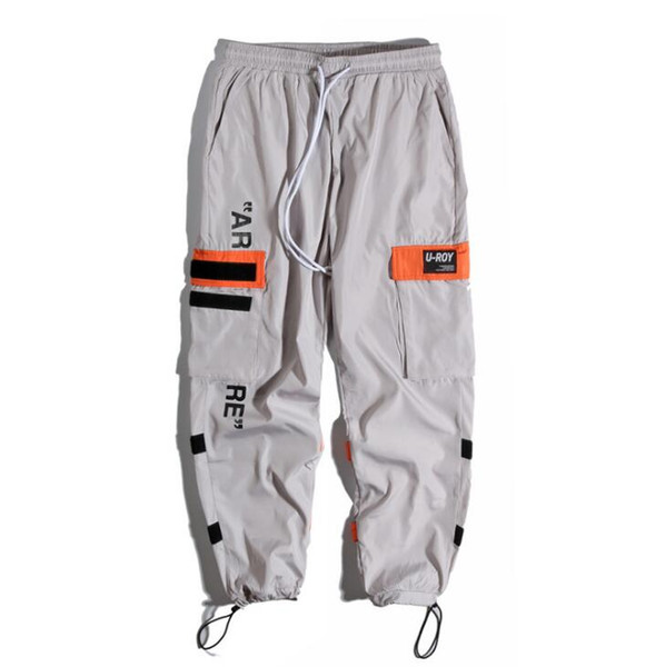Erkek Yan Cepler Kargo Harem Pantolon Hip Hop Rahat Erkek Tatical Joggers Pantolon Moda Rahat Streetwear Pantolon