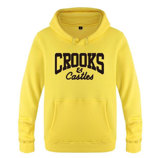 Crooks And Castles Mens Hihop Skateboard Rapper Sudaderas con capucha Casual Adolescentes Ropa Sudaderas