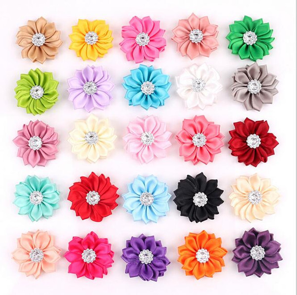 50 pcs/lot Satin Flower WITHOUT Clip Fabric Flower With Rhinestone For Baby Girls Headbands Appliques Garment Accessories
