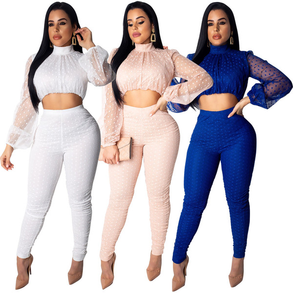 Newest Sexy Dot Tulle Two-Piece Tracksuits 2019 Spring Long Sleeves Short T Shirt and Long Skinny Pants Fashion Party Club Outfits