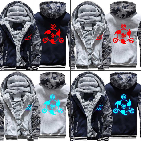 Anime Naruto Sharingan Sweatshirts Nachtlichter Winter Luminous verdicken Hoodies Warme Tops Zip Mantel Jacke Herrenbekleidung