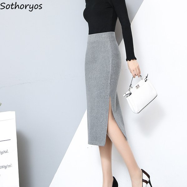 Etekler Kadınlar Yüksek Bel Kalın Yün Kış Yumuşak Tüm Maç Uzun Etek Bayan Zarif Katı Basit Trendy Bayanlar Moda Mujer