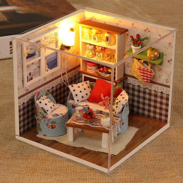Christmas Dollhouse Decorations.Voice Control Miniature Doll House Diy Dollhouse Furniture Model With Dust Cover Toys For Children Christmas Decorations Gifts Buy Dollhouse Furniture