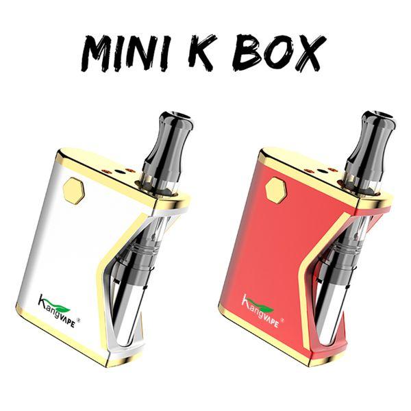 Original KangVape Mini K Box Starter Kits 400mAh Vorheizen der Batterie mit dickem Öl 0,5ml Keramikspule Cartridge Kit 4 Farben