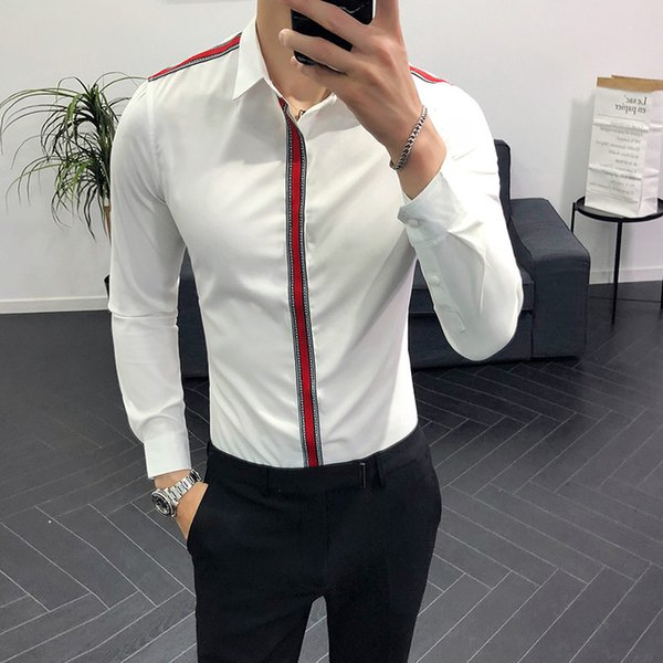 Korean Slim Turndown Collar Design Casual Dress Shirt Chemise Homme Fashion Brand Camisa Masculina Long Sleeve Shirt Men Black