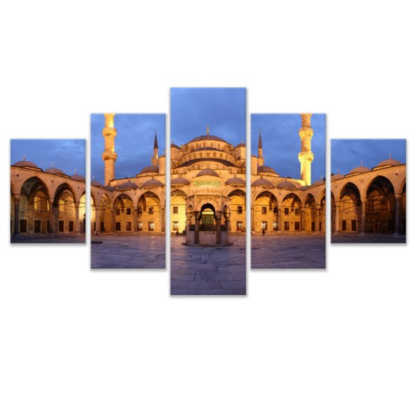5 Pcs Combinations HD Islamic mosque building Framed Canvas Painting Wall Decoration Printed Oil Painting poster