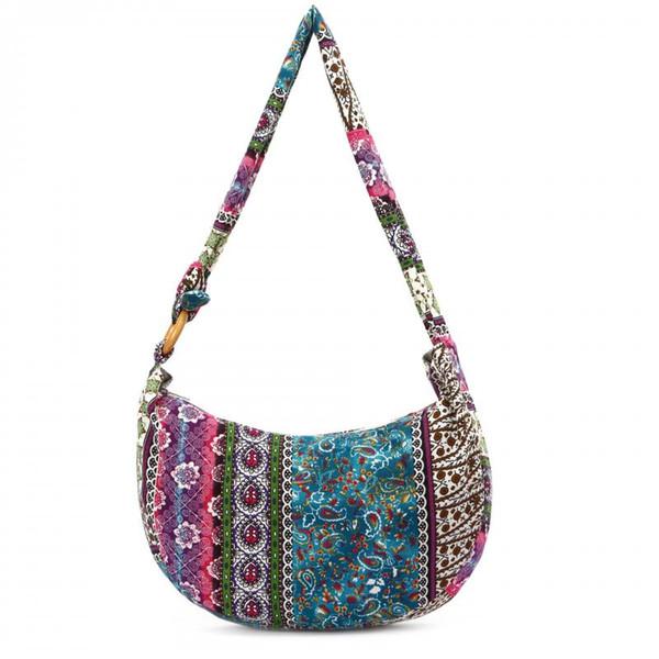 Frauen leinwand Floral tragbare handtasche große schulter hippietasche mit bunten arten im freien reisespeicher Ethnische Vintage-Stil Taschen LJJQ121