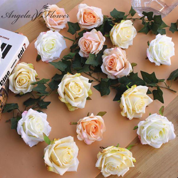 Diy pittura fiore di seta rosa teste decorazione artificiale Strada LED per la decorazione di nozze fiori hotel sfondo 30pcs / lot C18112601