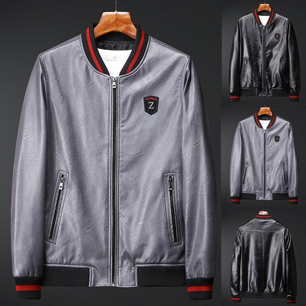 Erkek Rahat Ceketler Mont erkek Sonbahar Rahat Moda Ceketler Erkek Fermuar Patchwork Ince Suni Deri Ceket Ceket jaqueta