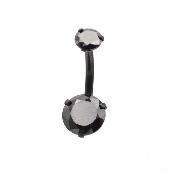 Черный CZ Циркон живота бар пупка кольцо кнопки 8 мм 9 мм 10 мм круглый хирургическая сталь пирсинг ювелирные изделия двойной камень Оптовая