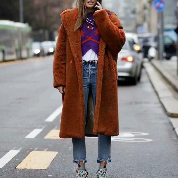 winter coat women outwear long sleeve lamb hair lapel warm long coat plush jacket overcoat wool blend women moda feminina