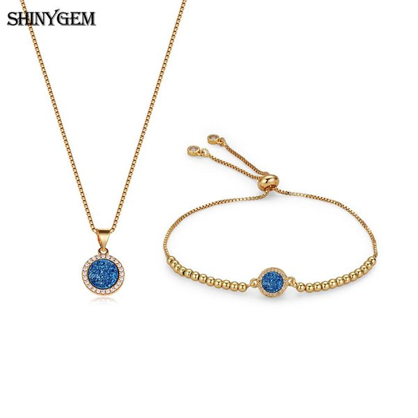 wholesale Minimalism Gold Necklace & Bracelet Jewelry Sets Real Natural Druzy Crystal Sparkling Gem Stone Jewelry Sets For Women