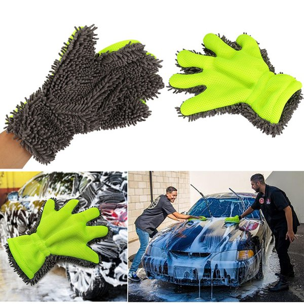 Towel Car Auto Detailing Fine Wool Chenille Finger Gloves Microfiber Car Wash Glove Cleaning Mitt Washing Brush Cloth Car Cleaning Tools