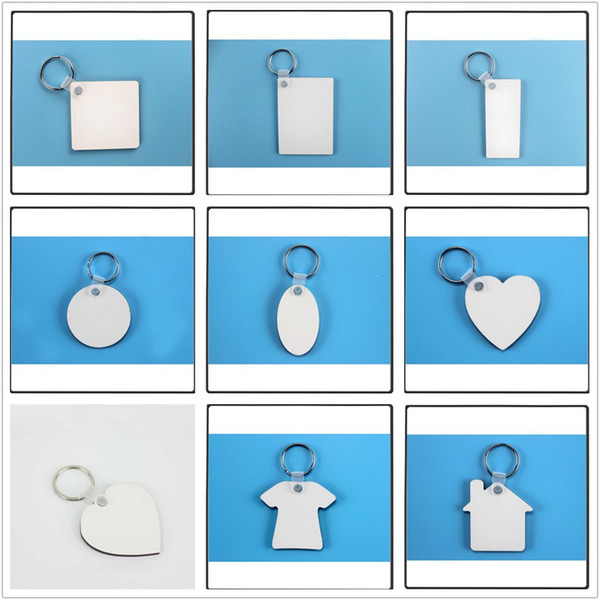 top popular MDF blank keychains for sublimation mdf heart round love key chain jewelry Thermal transfer printing DIY blank material consumables 2020