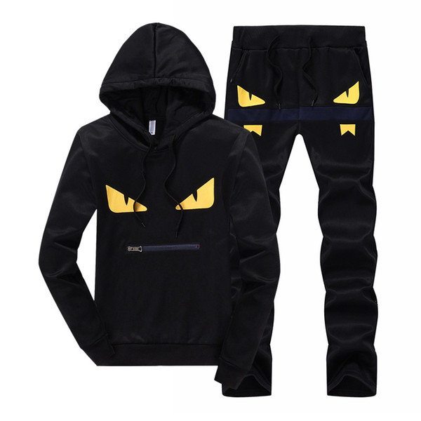 2019 New Fashion Mens Designer Tracksuits Men's Hooded Sweater Yellow Eyes Casual Pullover Two Piece Hot Sale Black Size M-5XL