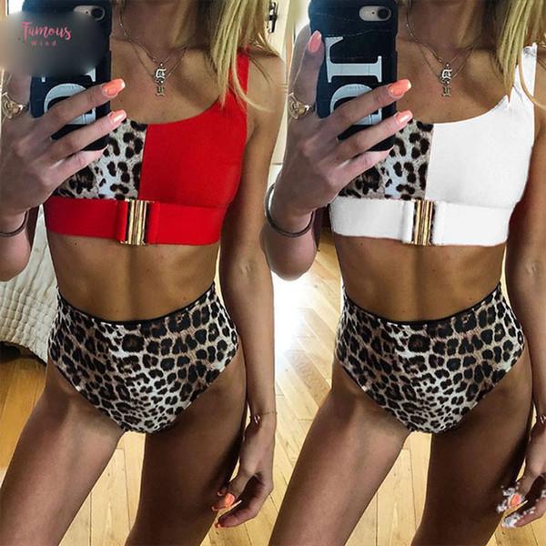 Sexy Red Leopard Bikini Set 2019 Nuova vita alta Swimwear Wear Biquini Mujer Push Up Costumi Beach Swimsuit di nuotata