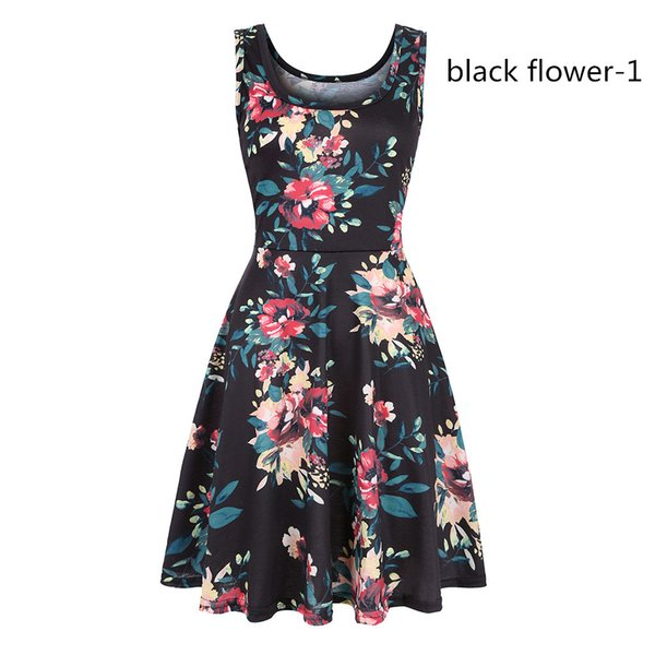 Spot women's printed dress round neck fashion brand design summer explosion models hot dress wholesale and retail