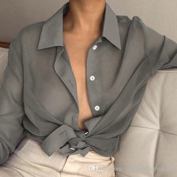 Blusa de manga larga con cuello de solapa sexy para mujer Camisa transparente de oficina de verano y primavera 2019